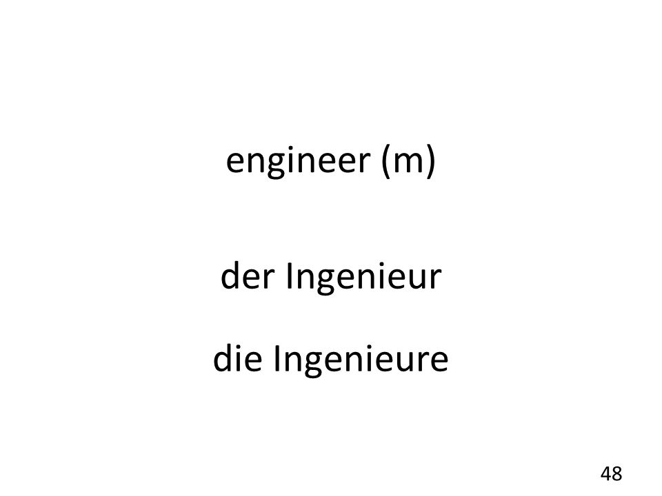 engineer (m) der Ingenieur die Ingenieure 48