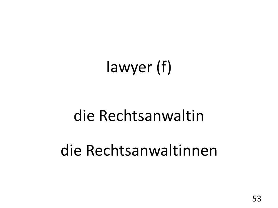 lawyer (f) die Rechtsanwaltin die Rechtsanwaltinnen 53