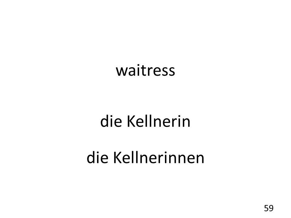 waitress die Kellnerin die Kellnerinnen 59