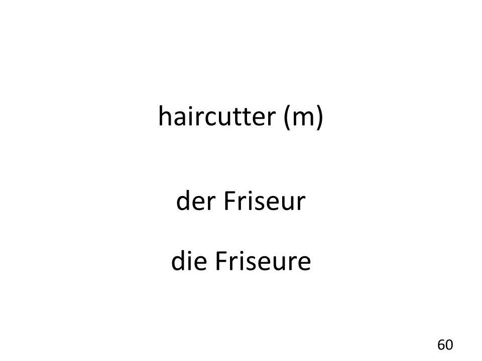 haircutter (m) der Friseur die Friseure 60