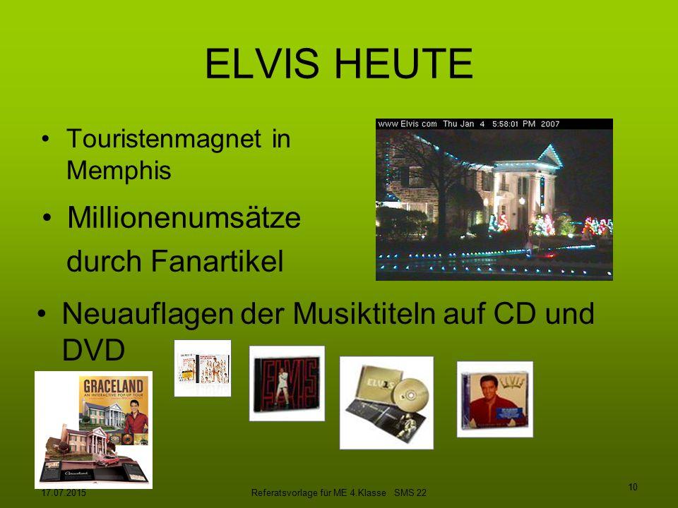 17.07.2015Referatsvorlage für ME 4.Klasse SMS 22 10 ELVIS HEUTE Touristenmagnet in Memphis Millionenumsätze durch Fanartikel Neuauflagen der Musiktite