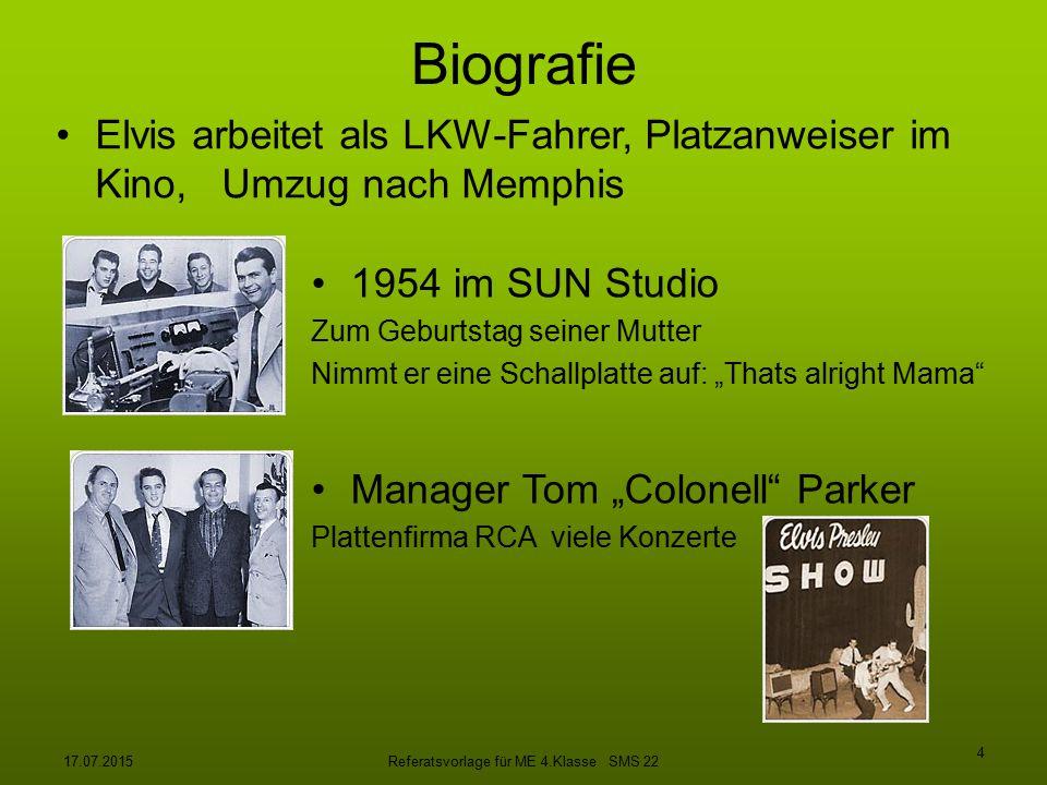 17.07.2015Referatsvorlage für ME 4.Klasse SMS 22 5 BIOGRAFIE 1958 Militärdienst in Deutschland 1.