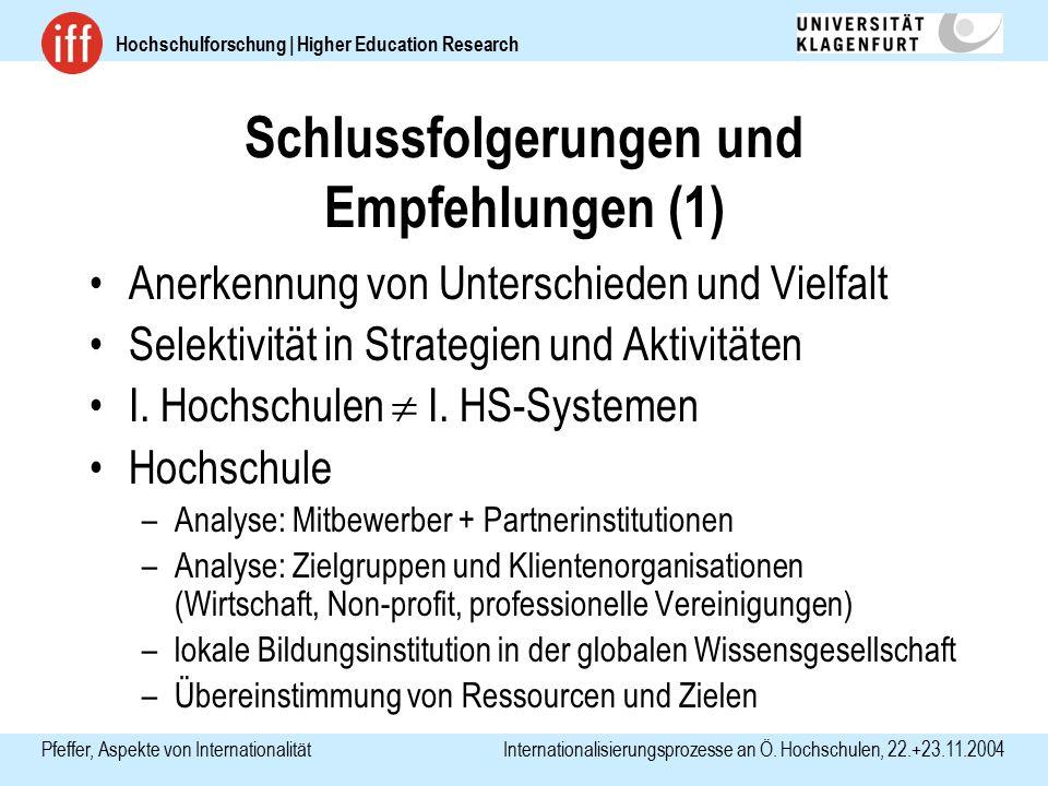 Hochschulforschung | Higher Education Research Pfeffer, Aspekte von Internationalität Internationalisierungsprozesse an Ö. Hochschulen, 22.+23.11.2004