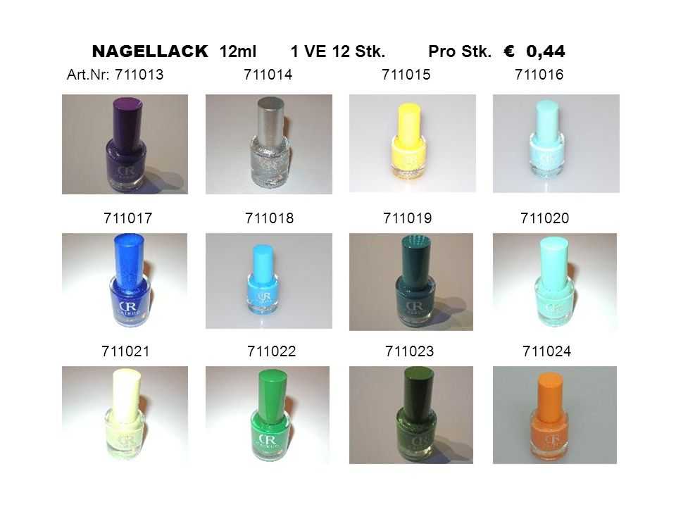 711017 711018 711019 711020 711021 711022 711023 711024 NAGELLACK 12ml 1 VE 12 Stk.