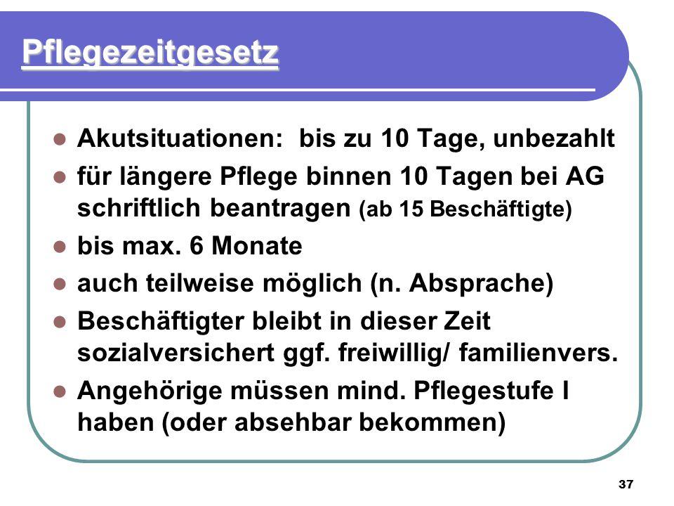 37 Pflegezeitgesetz Akutsituationen: bis zu 10 Tage, unbezahlt für längere Pflege binnen 10 Tagen bei AG schriftlich beantragen (ab 15 Beschäftigte) b