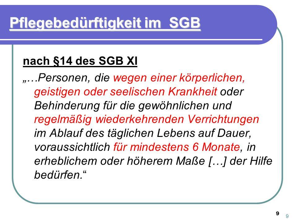 """9 Pflegebedürftigkeit im SGB nach §14 des SGB XI """"…Personen, die wegen einer körperlichen, geistigen oder seelischen Krankheit oder Behinderung für di"""