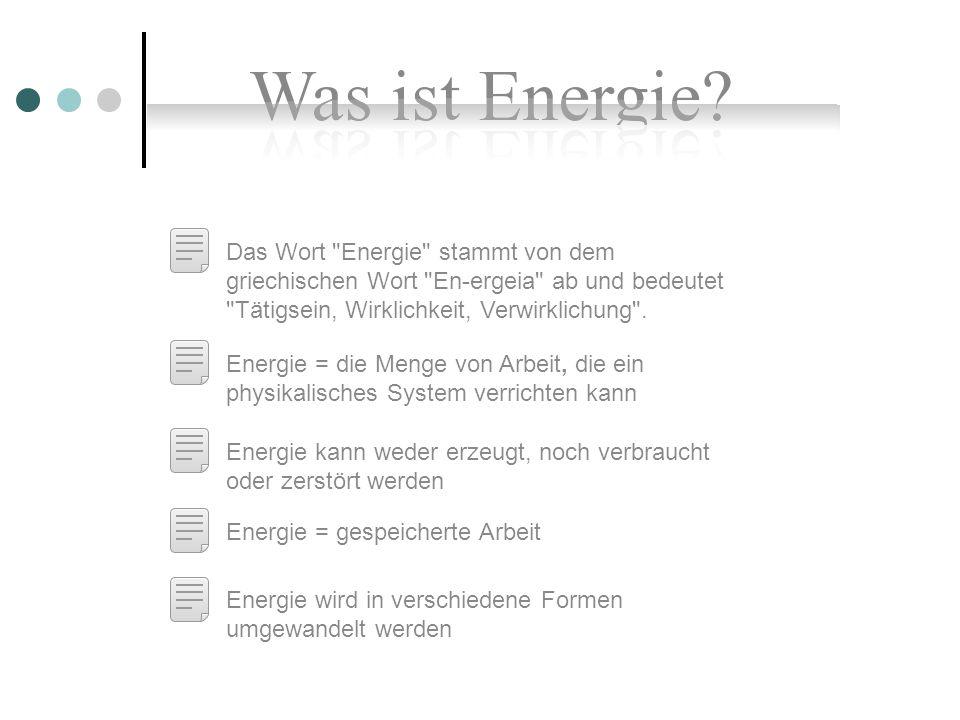 Energieformen Mechanische Energie Thermische Energie Elektrische und magnetische Energie Bindungsenergie Kinetische Energie Thermodynamik (Wärmeenergie) Elektrische EnergieChemische Energie Potentielle Energie MagnetismusKernenergie Elastische Energie