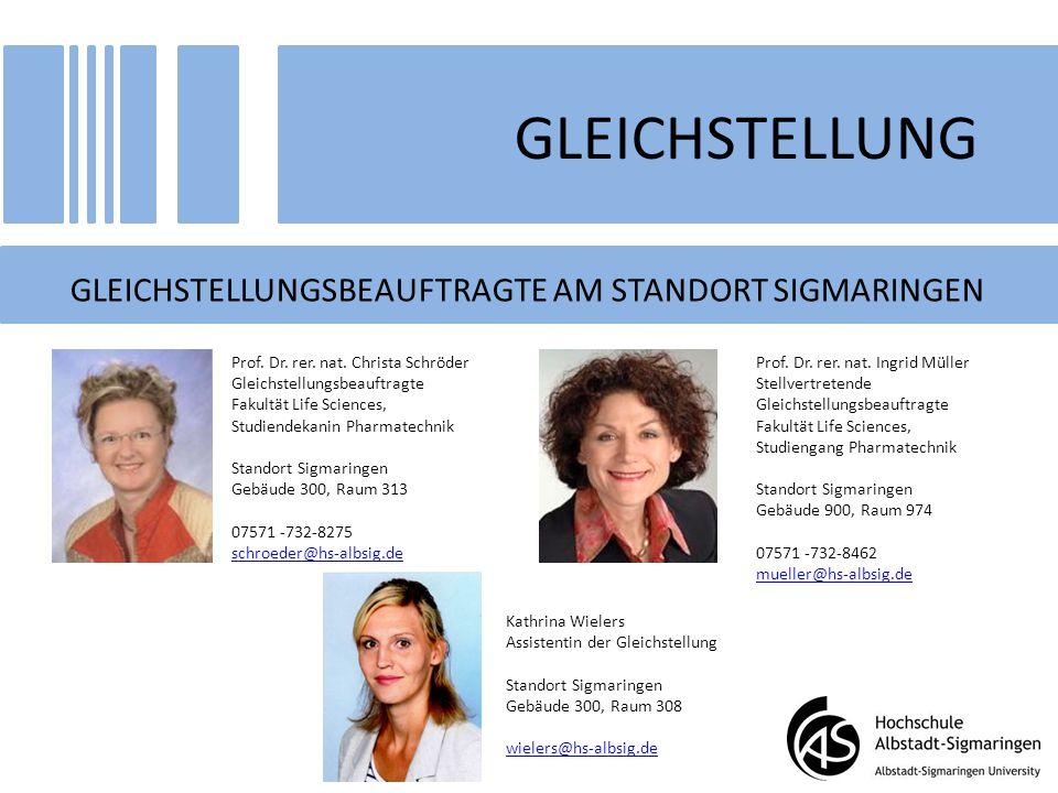 GLEICHSTELLUNG GLEICHSTELLUNGSBEAUFTRAGTE AM STANDORT SIGMARINGEN Prof. Dr. rer. nat. Christa Schröder Gleichstellungsbeauftragte Fakultät Life Scienc