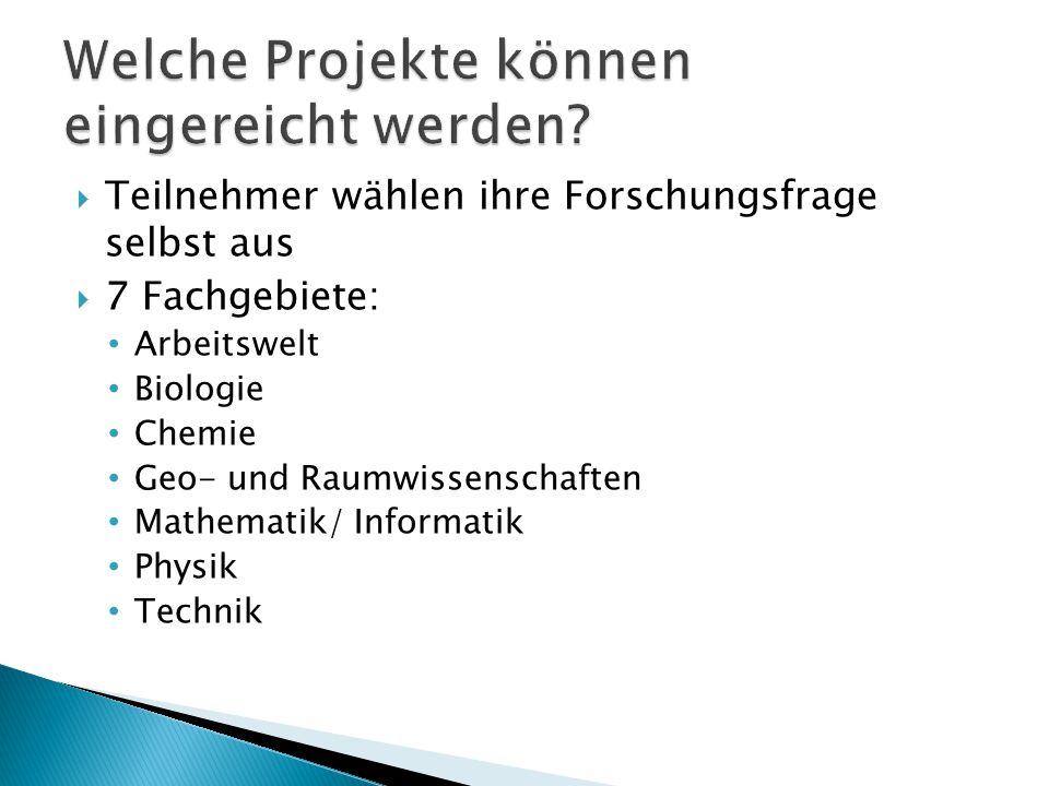  Teilnehmer wählen ihre Forschungsfrage selbst aus  7 Fachgebiete: Arbeitswelt Biologie Chemie Geo- und Raumwissenschaften Mathematik/ Informatik Physik Technik