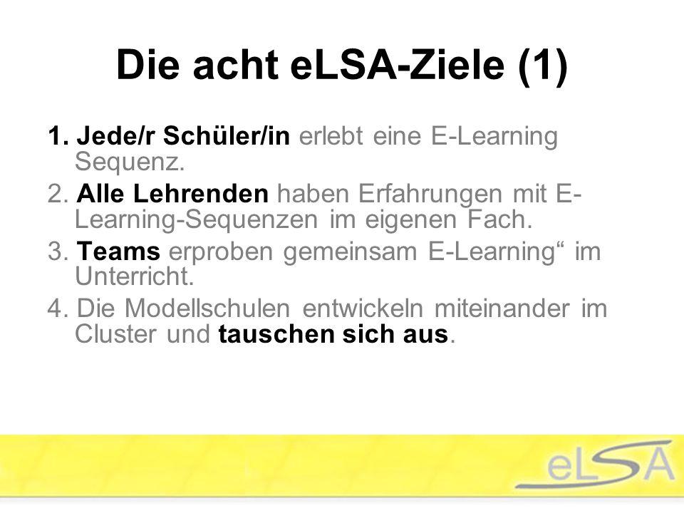 Die acht eLSA-Ziele (1) 1. Jede/r Schüler/in erlebt eine E-Learning Sequenz.