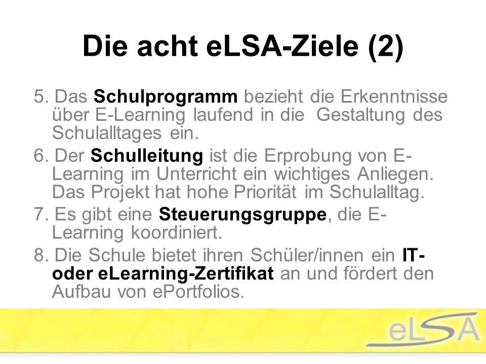 5. Das Schulprogramm bezieht die Erkenntnisse über E-Learning laufend in die Gestaltung des Schulalltages ein. 6. Der Schulleitung ist die Erprobung v