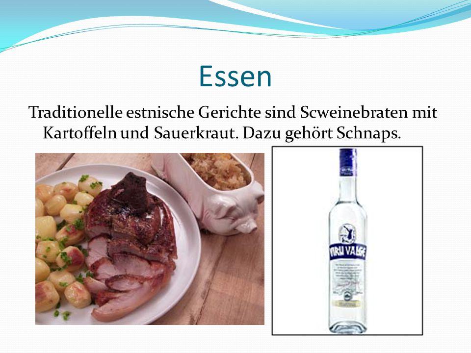 Essen Traditionelle estnische Gerichte sind Scweinebraten mit Kartoffeln und Sauerkraut. Dazu gehört Schnaps.