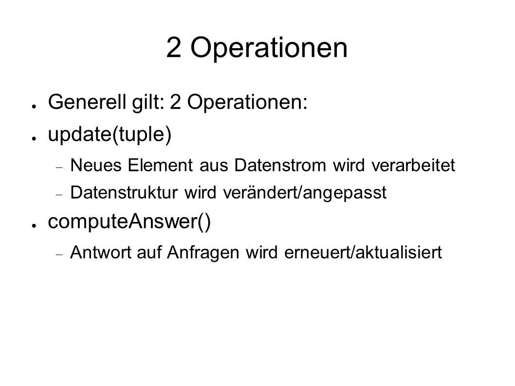 2 Operationen ● Generell gilt: 2 Operationen: ● update(tuple)  Neues Element aus Datenstrom wird verarbeitet  Datenstruktur wird verändert/angepasst ● computeAnswer()  Antwort auf Anfragen wird erneuert/aktualisiert