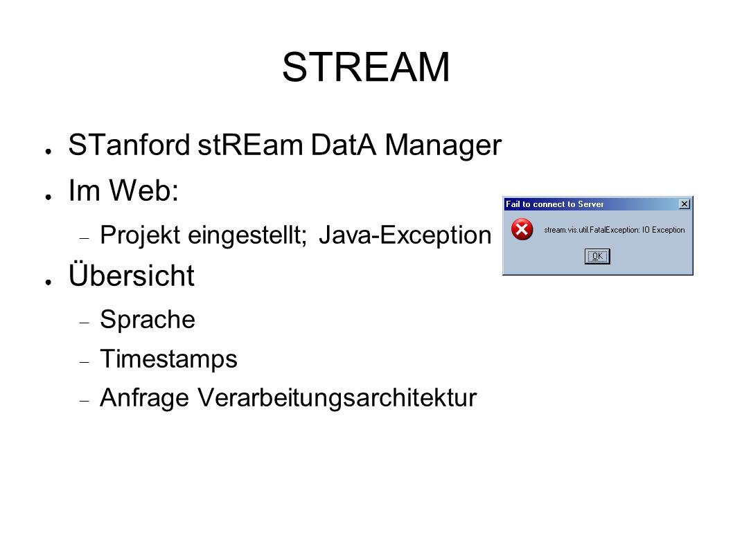 STREAM ● STanford stREam DatA Manager ● Im Web:  Projekt eingestellt; Java-Exception ● Übersicht  Sprache  Timestamps  Anfrage Verarbeitungsarchitektur