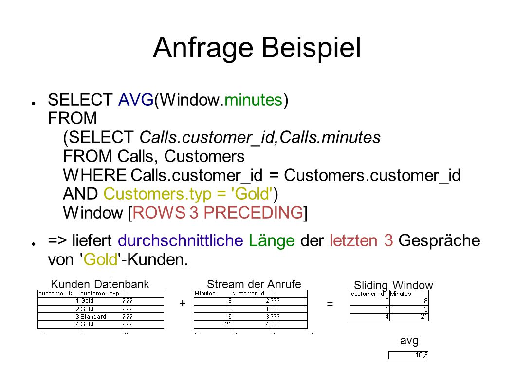 Anfrage Beispiel ● SELECT AVG(Window.minutes) FROM (SELECT Calls.customer_id,Calls.minutes FROM Calls, Customers WHERE Calls.customer_id = Customers.customer_id AND Customers.typ = Gold ) Window [ROWS 3 PRECEDING] ● => liefert durchschnittliche Länge der letzten 3 Gespräche von Gold -Kunden.