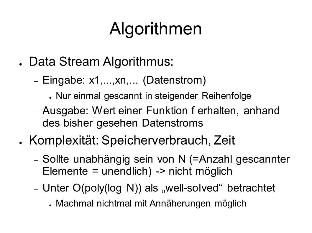 Algorithmen ● Data Stream Algorithmus:  Eingabe: x1,...,xn,...