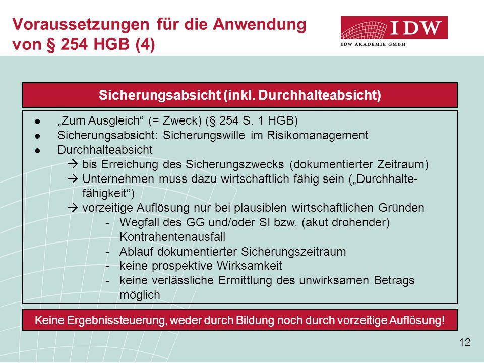 """12 Voraussetzungen für die Anwendung von § 254 HGB (4) Sicherungsabsicht (inkl. Durchhalteabsicht) """"Zum Ausgleich"""" (= Zweck) (§ 254 S. 1 HGB) Sicherun"""