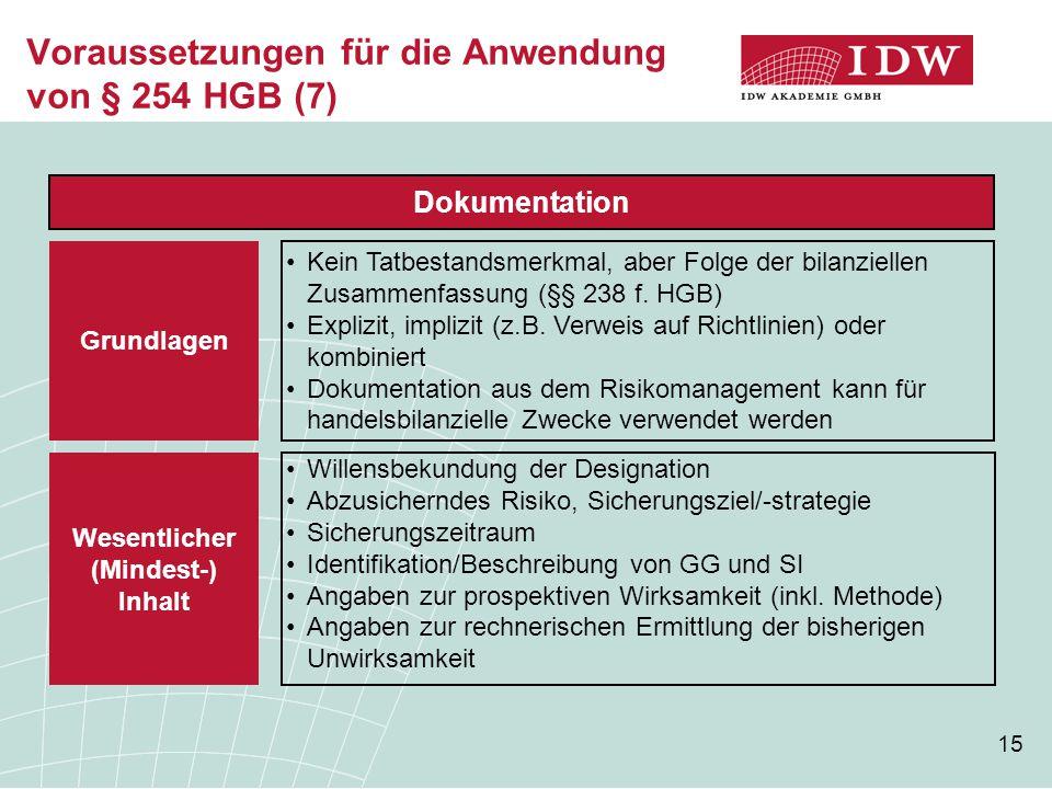 15 Voraussetzungen für die Anwendung von § 254 HGB (7) Dokumentation Kein Tatbestandsmerkmal, aber Folge der bilanziellen Zusammenfassung (§§ 238 f.