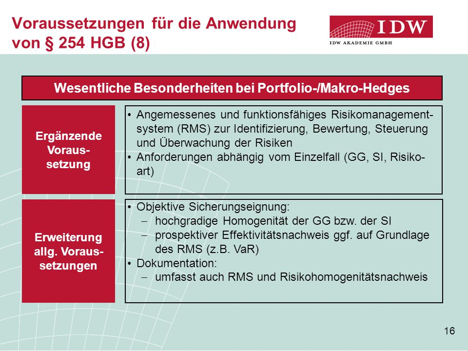 16 Voraussetzungen für die Anwendung von § 254 HGB (8) Wesentliche Besonderheiten bei Portfolio-/Makro-Hedges Angemessenes und funktionsfähiges Risikomanagement- system (RMS) zur Identifizierung, Bewertung, Steuerung und Überwachung der Risiken Anforderungen abhängig vom Einzelfall (GG, SI, Risiko- art) Ergänzende Voraus- setzung Objektive Sicherungseignung:  hochgradige Homogenität der GG bzw.