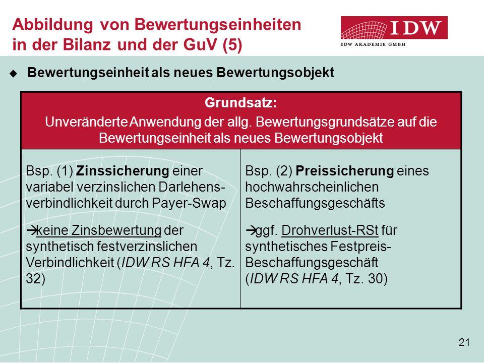 21 Abbildung von Bewertungseinheiten in der Bilanz und der GuV (5)  Bewertungseinheit als neues Bewertungsobjekt Grundsatz: Unveränderte Anwendung der allg.