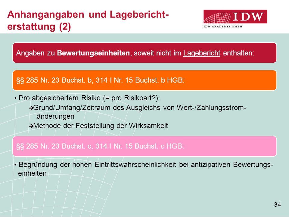 34 Anhangangaben und Lagebericht- erstattung (2) Angaben zu Bewertungseinheiten, soweit nicht im Lagebericht enthalten: §§ 285 Nr. 23 Buchst. c, 314 I