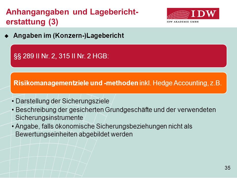35 Anhangangaben und Lagebericht- erstattung (3)  Angaben im (Konzern-)Lagebericht §§ 289 II Nr. 2, 315 II Nr. 2 HGB: Risikomanagementziele und -meth