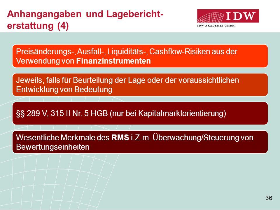 36 Anhangangaben und Lagebericht- erstattung (4) Preisänderungs-, Ausfall-, Liquiditäts-, Cashflow-Risiken aus der Verwendung von Finanzinstrumenten J