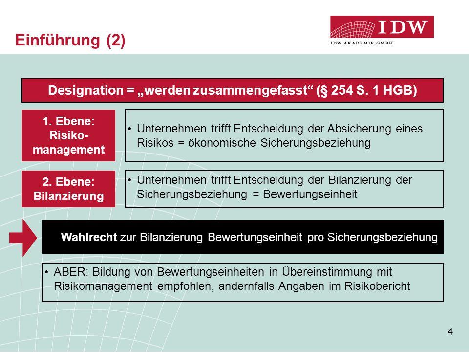 """4 Designation = """"werden zusammengefasst"""" (§ 254 S. 1 HGB) Unternehmen trifft Entscheidung der Absicherung eines Risikos = ökonomische Sicherungsbezieh"""