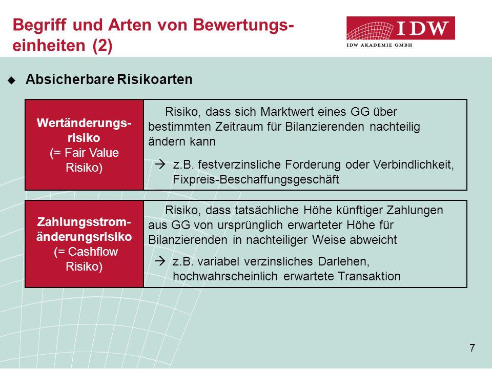 7 Begriff und Arten von Bewertungs- einheiten (2) Wertänderungs- risiko (= Fair Value Risiko) Zahlungsstrom- änderungsrisiko (= Cashflow Risiko) Risiko, dass sich Marktwert eines GG über bestimmten Zeitraum für Bilanzierenden nachteilig ändern kann  z.B.