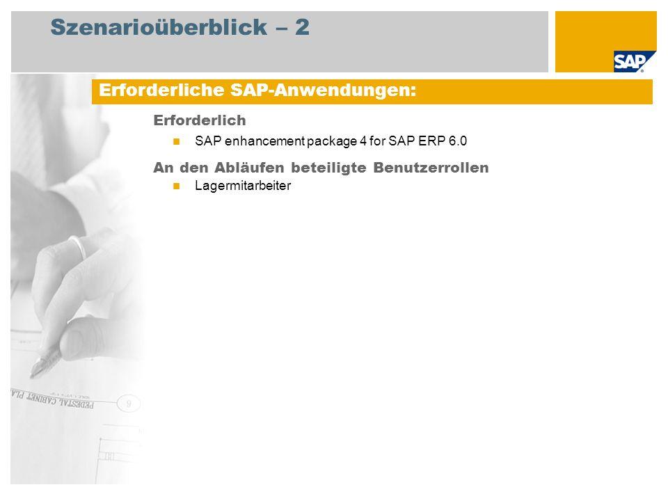 Szenarioüberblick – 2 Erforderlich SAP enhancement package 4 for SAP ERP 6.0 An den Abläufen beteiligte Benutzerrollen Lagermitarbeiter Erforderliche