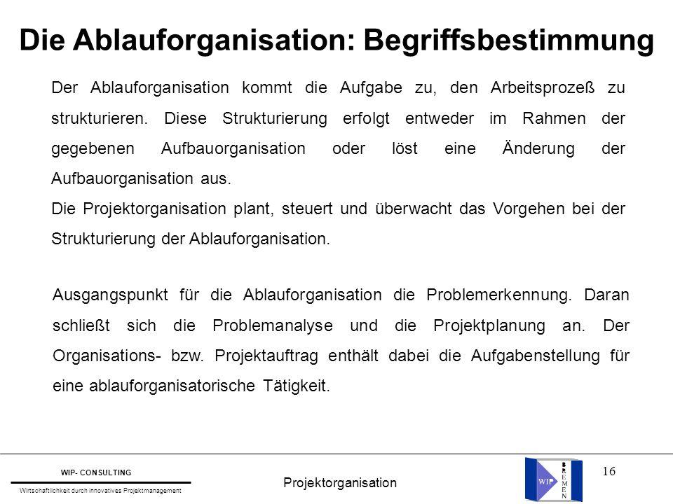 16 Die Ablauforganisation: Begriffsbestimmung Der Ablauforganisation kommt die Aufgabe zu, den Arbeitsprozeß zu strukturieren. Diese Strukturierung er