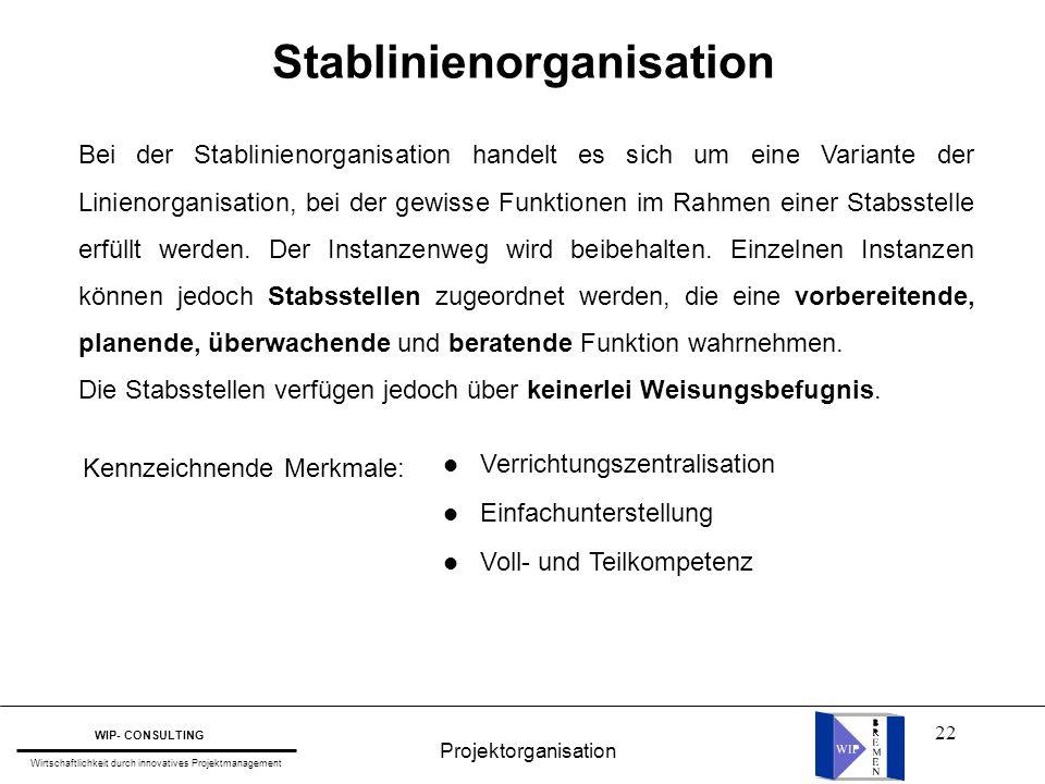 22 Stablinienorganisation Bei der Stablinienorganisation handelt es sich um eine Variante der Linienorganisation, bei der gewisse Funktionen im Rahmen