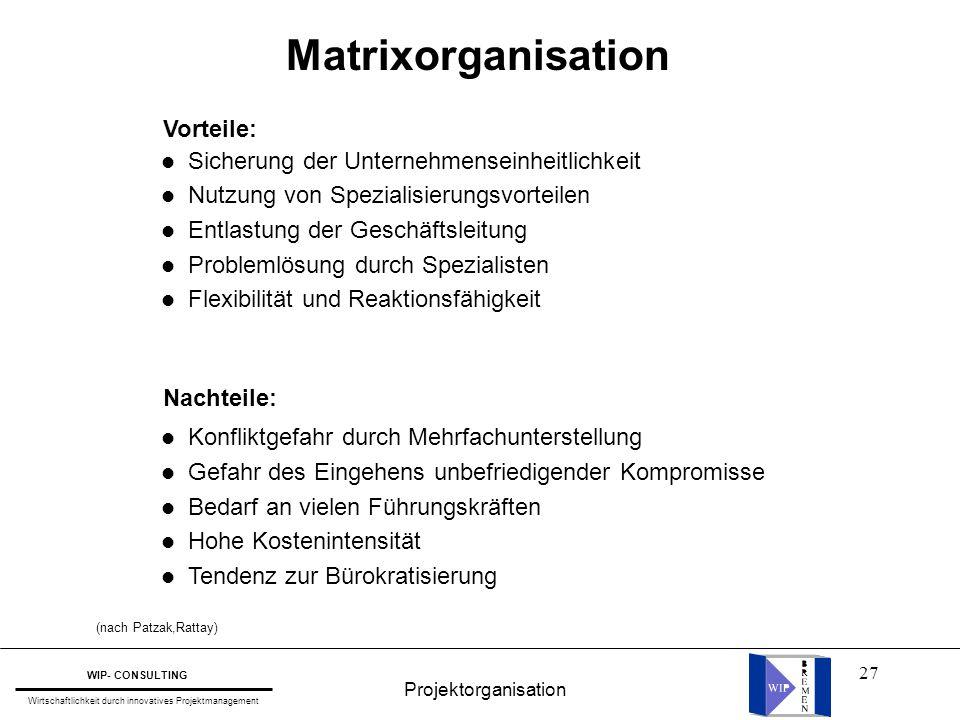 27 Matrixorganisation l Sicherung der Unternehmenseinheitlichkeit l Nutzung von Spezialisierungsvorteilen l Entlastung der Geschäftsleitung l Probleml