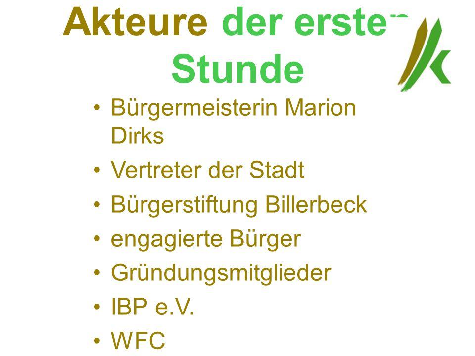 Akteure der ersten Stunde Bürgermeisterin Marion Dirks Vertreter der Stadt Bürgerstiftung Billerbeck engagierte Bürger Gründungsmitglieder IBP e.V. WF