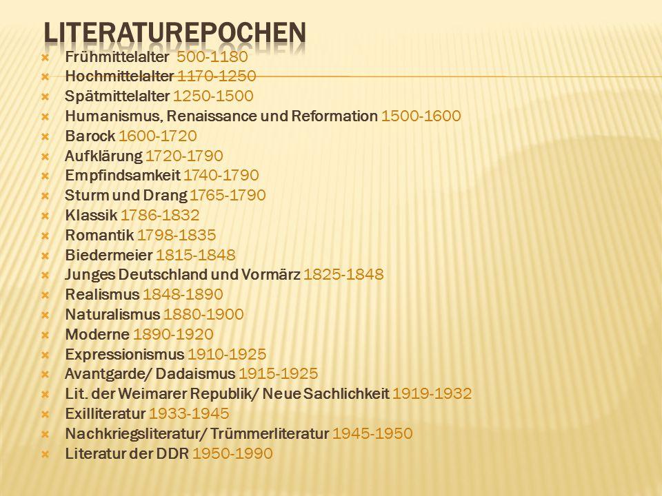 Frühmittelalter 500-1180  Hochmittelalter 1170-1250  Spätmittelalter 1250-1500  Humanismus, Renaissance und Reformation 1500-1600  Barock 1600-1