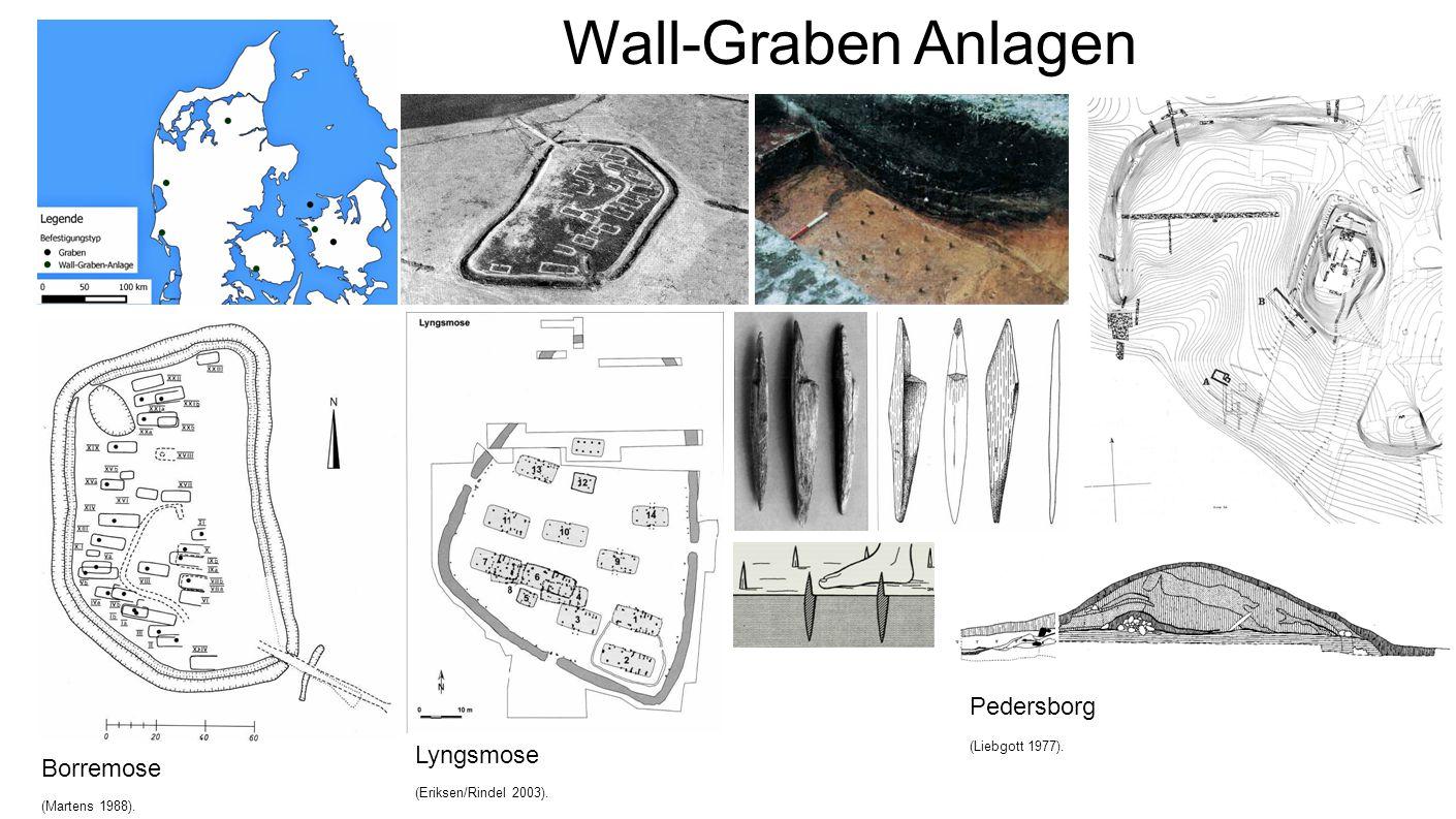 Wall-Graben Anlagen Borremose (Martens 1988). Lyngsmose (Eriksen/Rindel 2003). Pedersborg (Liebgott 1977).