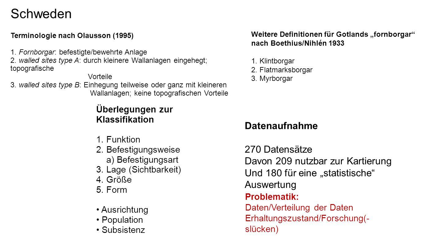Schweden Terminologie nach Olausson (1995) 1. Fornborgar: befestigte/bewehrte Anlage 2. walled sites type A: durch kleinere Wallanlagen eingehegt; top
