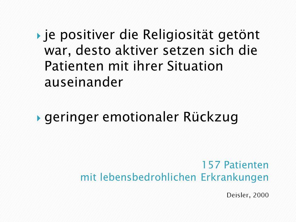 Deisler, 2000  je positiver die Religiosität getönt war, desto aktiver setzen sich die Patienten mit ihrer Situation auseinander  geringer emotionaler Rückzug