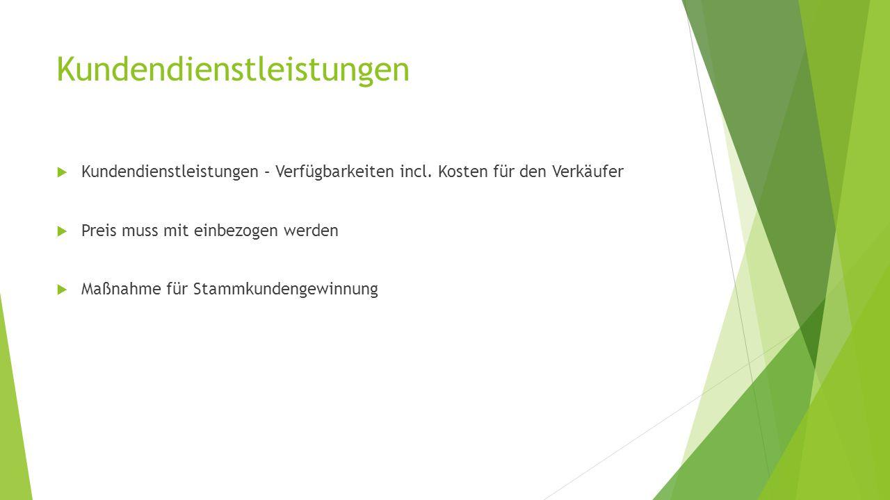 Kundendienstleistungen  Kundendienstleistungen – Verfügbarkeiten incl.