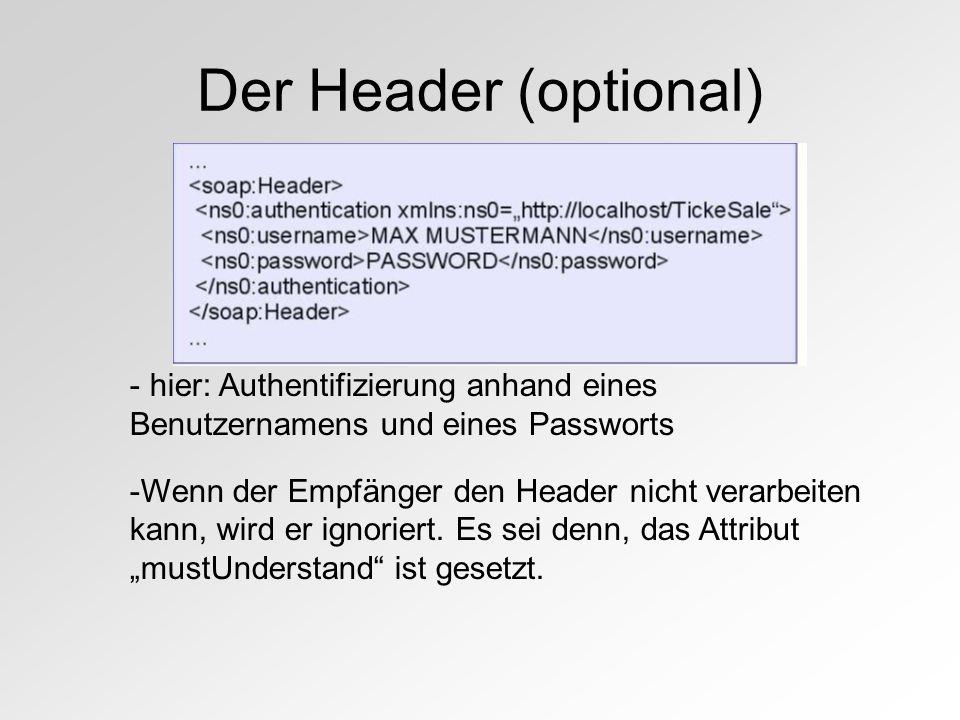 Der Header (optional) - hier: Authentifizierung anhand eines Benutzernamens und eines Passworts -Wenn der Empfänger den Header nicht verarbeiten kann, wird er ignoriert.