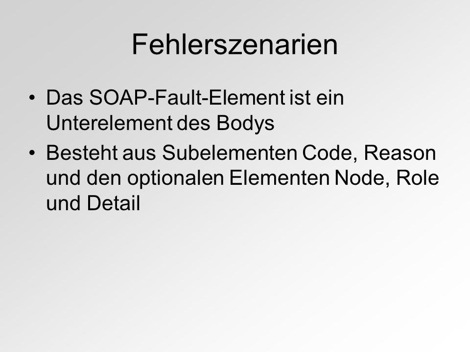 Fehlerszenarien Das SOAP-Fault-Element ist ein Unterelement des Bodys Besteht aus Subelementen Code, Reason und den optionalen Elementen Node, Role und Detail