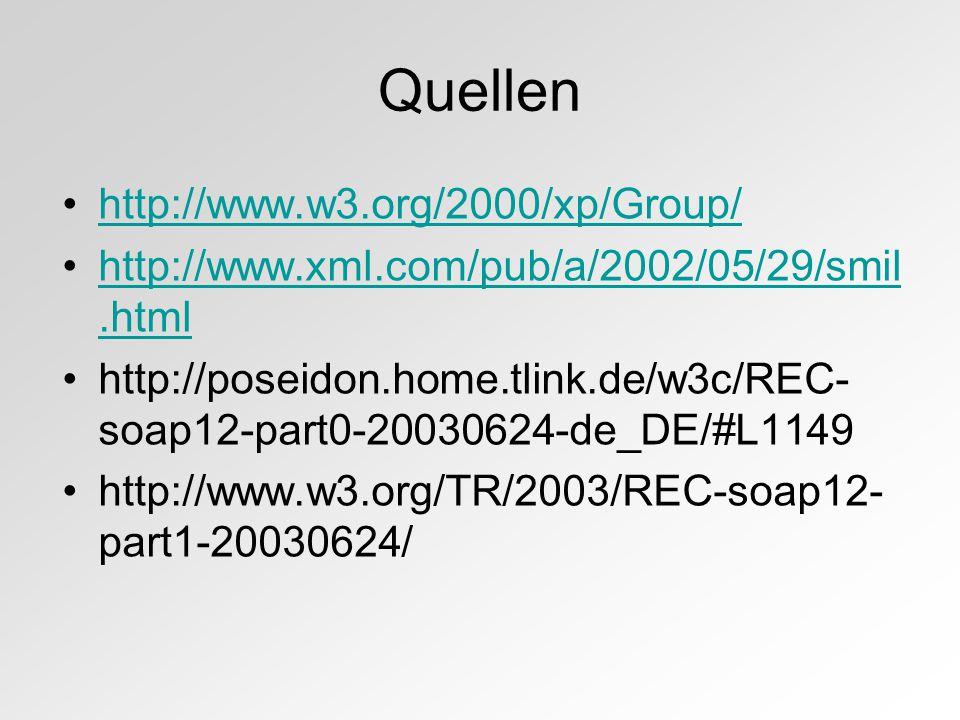 Quellen http://www.w3.org/2000/xp/Group/ http://www.xml.com/pub/a/2002/05/29/smil.htmlhttp://www.xml.com/pub/a/2002/05/29/smil.html http://poseidon.home.tlink.de/w3c/REC- soap12-part0-20030624-de_DE/#L1149 http://www.w3.org/TR/2003/REC-soap12- part1-20030624/