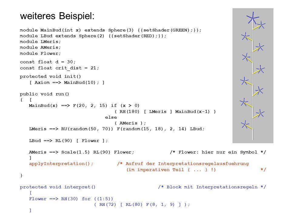 weiteres Beispiel: module MainBud(int x) extends Sphere(3) {{setShader(GREEN);}}; module LBud extends Sphere(2) {{setShader(RED);}}; module LMeris; mo