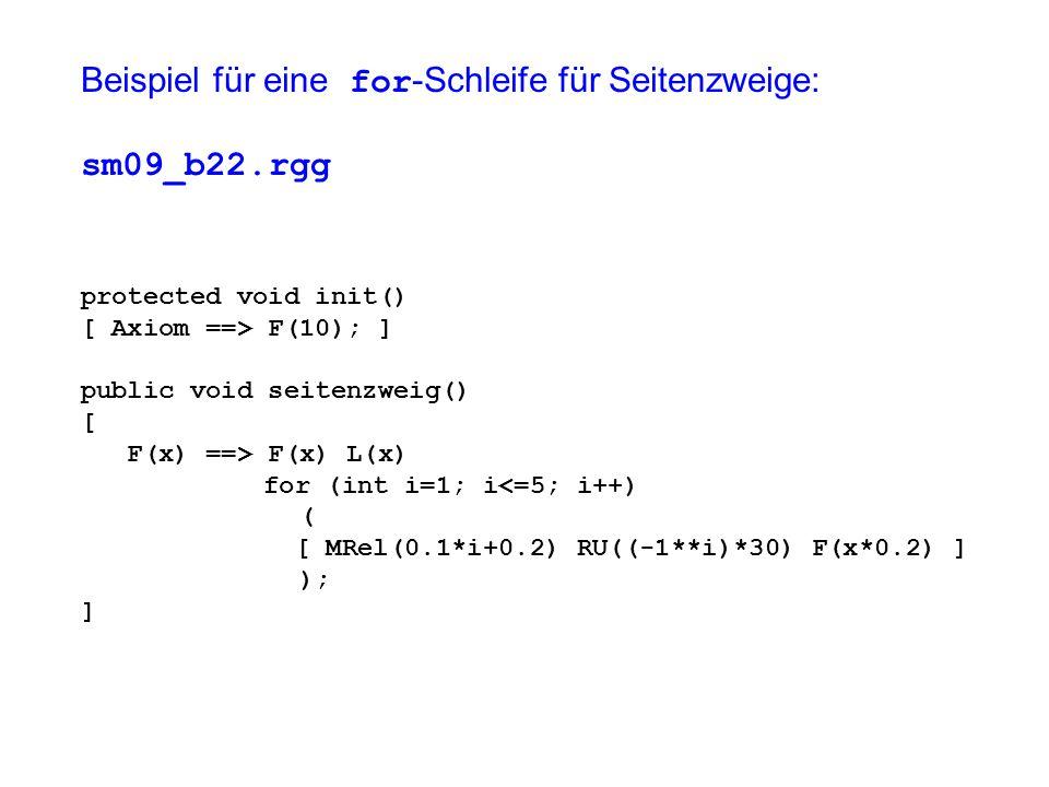 Beispiel für eine for -Schleife für Seitenzweige: sm09_b22.rgg protected void init() [ Axiom ==> F(10); ] public void seitenzweig() [ F(x) ==> F(x) L(x) for (int i=1; i<=5; i++) ( [ MRel(0.1*i+0.2) RU((-1**i)*30) F(x*0.2) ] ); ]