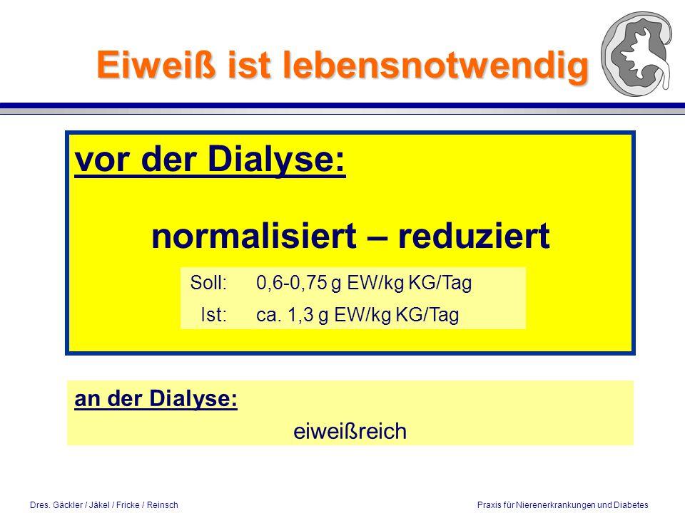 Dres.Gäckler / Jäkel / Fricke / Reinsch Praxis für Nierenerkrankungen und Diabetes Eiweiß ist v.a.