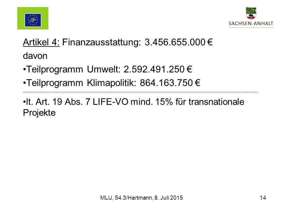 Artikel 4: Finanzausstattung: 3.456.655.000 € davon Teilprogramm Umwelt: 2.592.491.250 € Teilprogramm Klimapolitik: 864.163.750 € ---------------------------------------------------------------------------------------------------------------------------------------------------------------------------------- lt.