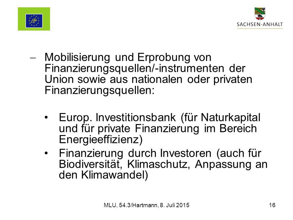  Mobilisierung und Erprobung von Finanzierungsquellen/-instrumenten der Union sowie aus nationalen oder privaten Finanzierungsquellen: Europ.