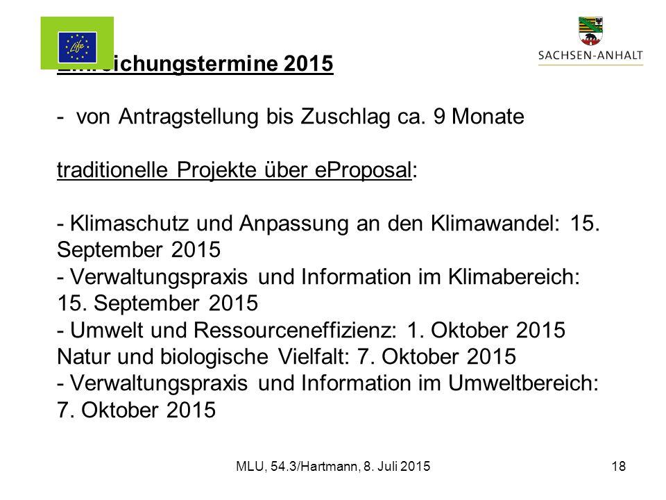 Einreichungstermine 2015 - von Antragstellung bis Zuschlag ca.