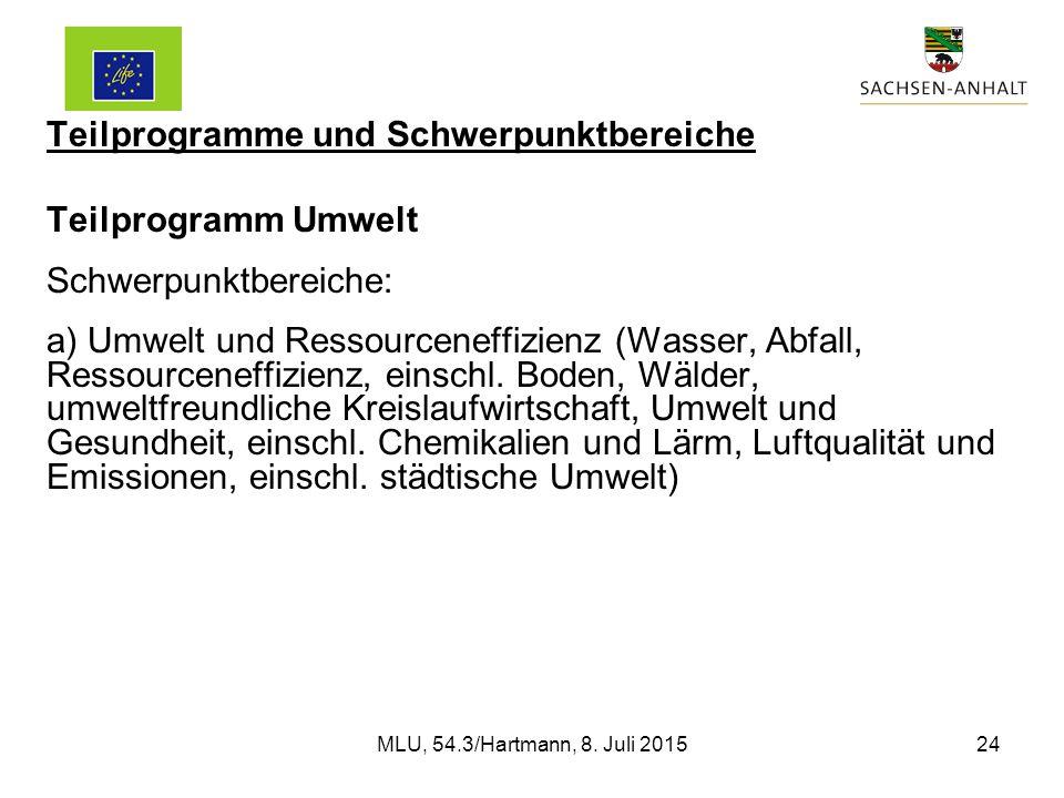 Teilprogramme und Schwerpunktbereiche Teilprogramm Umwelt Schwerpunktbereiche: a) Umwelt und Ressourceneffizienz (Wasser, Abfall, Ressourceneffizienz, einschl.