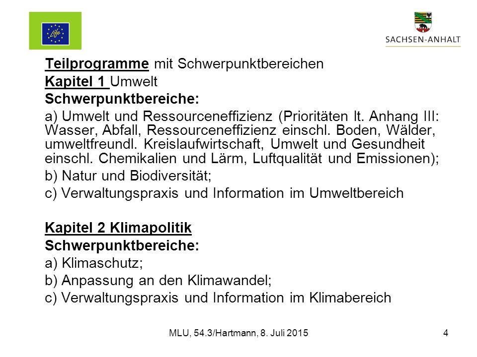 Teilprogramme mit Schwerpunktbereichen Kapitel 1 Umwelt Schwerpunktbereiche: a) Umwelt und Ressourceneffizienz (Prioritäten lt.